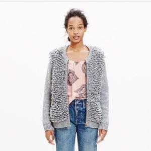 Madewell Fringe Loop Cardigan Sweater Gray Sz S